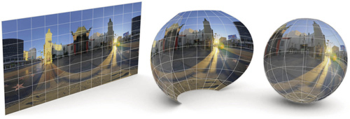 Mapa sferyczna jest owinięta wokół widoku jak mapa świata