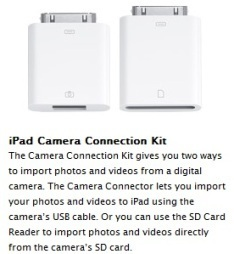 Camera Connection Kit dla iPada kosztuje 29 USD
