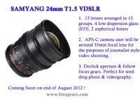W sierpniu nowy Samyang 24 mm T1.5 dla filmowców