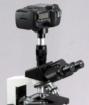 Lustrzanka Canon EOS podpięta do mikroskopu