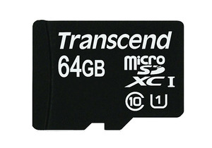 Transcend microSDXC Ultra-High Speed Class 1 z 64 gigabajtami pamięci